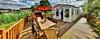 Ferienhaus-Terrasse direkt am See mit Strandkorb, Esstisch & 6 Stühlen, Sonnenschirm und 2 Liegestühlen - Urlaub, Sachsen-Anhalt